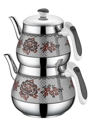 Kristal Orta Desenli Çaydanlık Siyah-Özkent